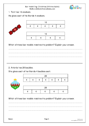 Preview of worksheet Bar modelling 4 times table (Y3)