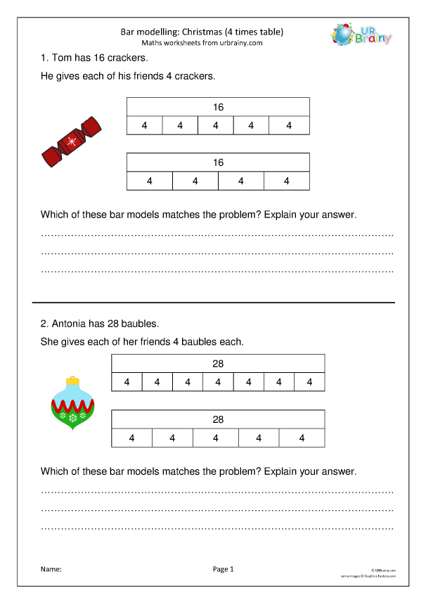 Preview of 'Bar modelling 4 times table (Y3)'