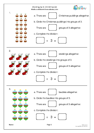 Preview of worksheet Dividing by 3 (2) Y3