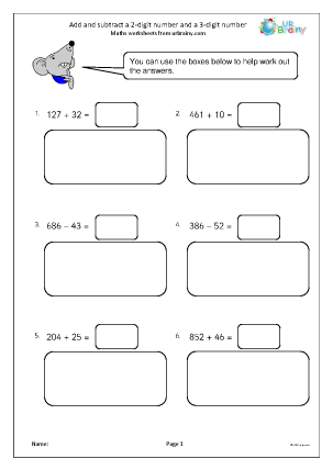 Preview of worksheet Add and subtract a 2 -digit and 3-digit number