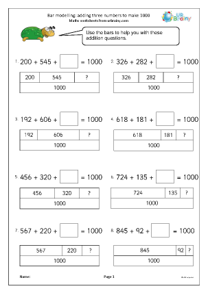 Preview of worksheet Bar modelling: add 3 numbers to make 1000 (2)