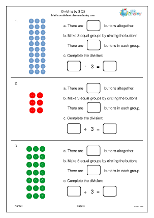 Preview of worksheet Dividing by 3 mastery (2)