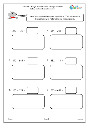 Preview of worksheet Subtract a 3-digit number from a 3-digit number