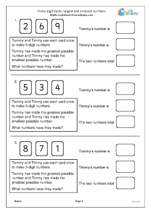Preview of worksheet 3-digit cards: largest and smallest number