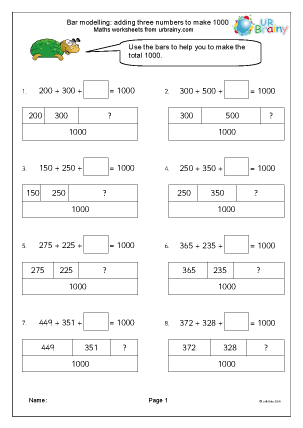 Preview of worksheet Bar modelling: add 3 numbers to make 1000