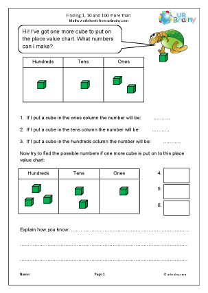 Preview of worksheet Finding 1, 10 and 100 more place value chart