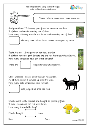Preview of worksheet Real life problems using subtraction (2)