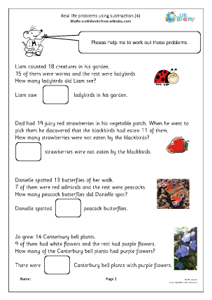 Preview of worksheet Real life problems using subtraction (4)