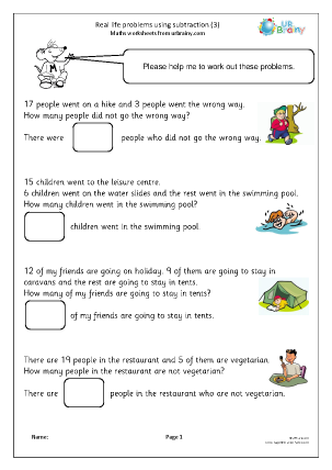 Real life problems using subtraction (3)