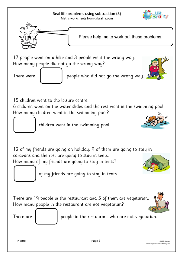 Preview of 'Real life problems using subtraction (3)'