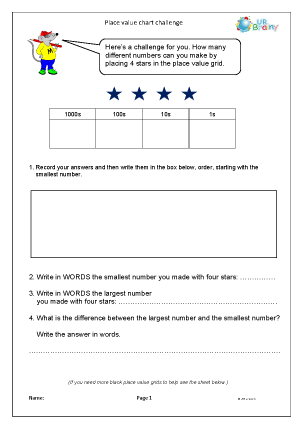 Preview of worksheet Place value chart challenge