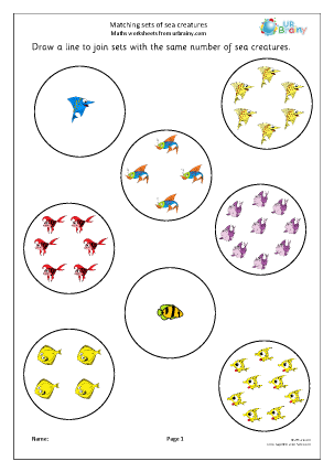 Preview of worksheet Matching sets of sea creatures