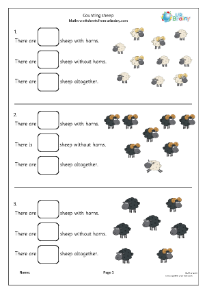 Preview of worksheet Counting 2 kinds of sheep