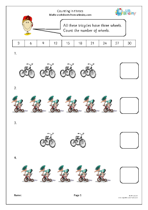 Preview of worksheet Counting in 3s