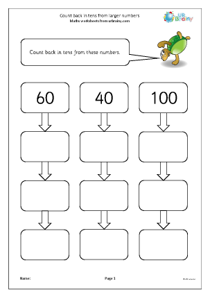 Preview of worksheet Count back in tens from larger numbers