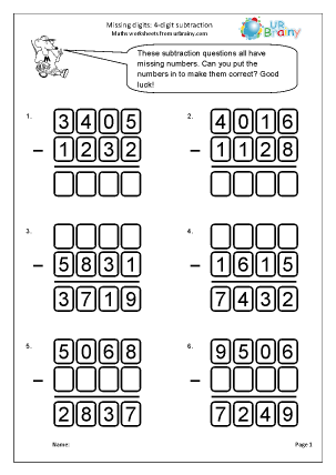 Preview of worksheet Subtraction: missing digits