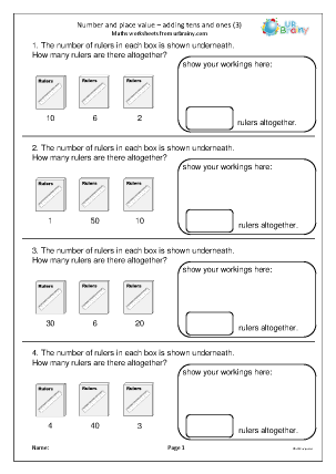 Preview of worksheet Number and place value: adding tens and ones (3)