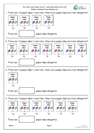 Preview of worksheet Number and place value: adding tens (3)