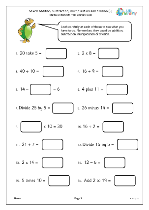 Mixed addition subtraction multiplication and division (5)