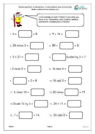 Preview of worksheet Mixed addition subtraction multiplication and division (6)