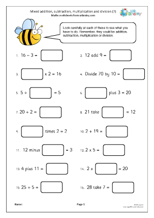 Preview of worksheet Mixed addition subtraction multiplication and division (7)