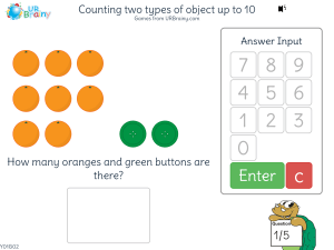 Preview of game Counting two types of object up to 10