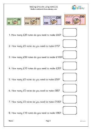 Preview of worksheet Making amounts using notes (1)