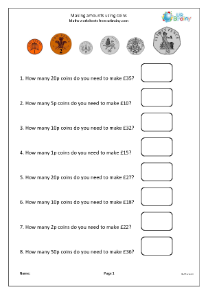 Preview of worksheet Making amounts using coins
