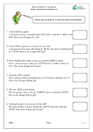 Preview of worksheet Word problems: money (1)