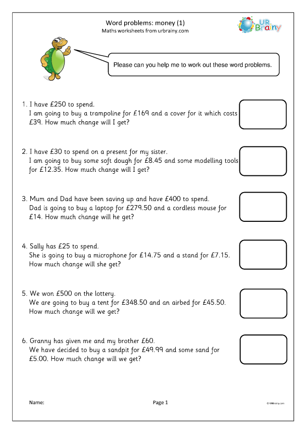Word problems: money (1) - Measuring and Time Worksheets ...