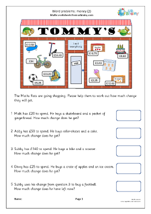 Preview of worksheet Word problems: money (2)