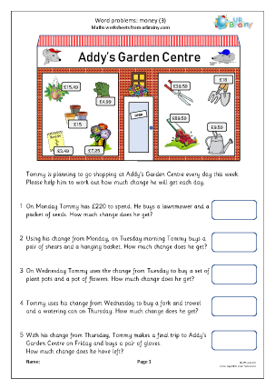 Preview of worksheet Word problems: money (3)