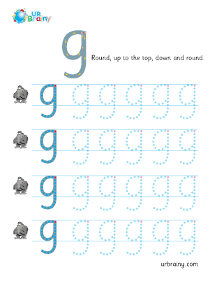Preview of worksheet g handwriting