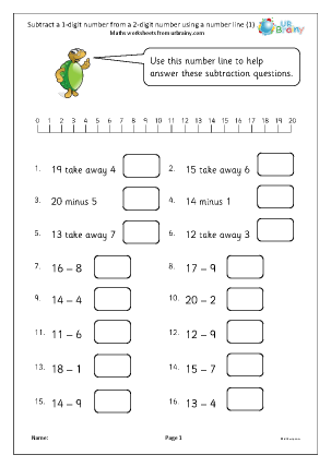 Preview of worksheet Subtract a 1-digit number from a 2-digit number using a number line (1)