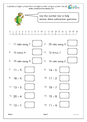 Preview of worksheet Subtract a 1-digit number from a 2-digit number using a number line (2)