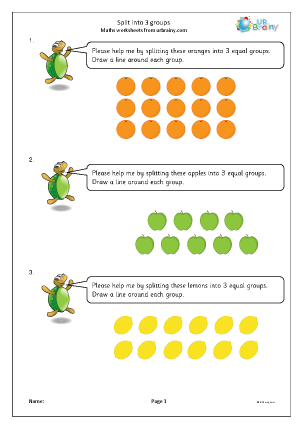 Preview of worksheet Split into 3 groups