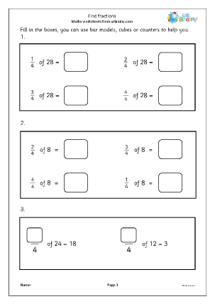 Preview of worksheet Find fractions