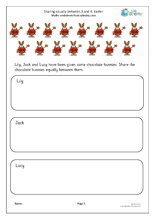 Preview of worksheet Easter: sharing equally between 3 and 4