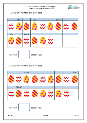 Preview of worksheet Count the number of Easter eggs