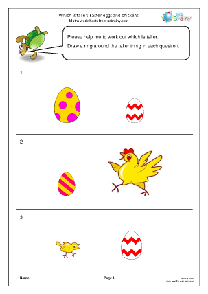 Preview of worksheet Which is taller? Easter eggs and chickens