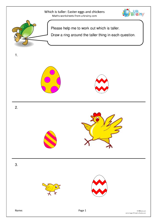 Preview of 'Which is taller? Easter eggs and chickens'