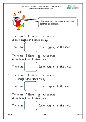 Preview of worksheet Easter: subtraction from teens not crossing tens