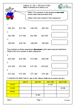 Number sequences and adding 10, 100, 1 000 and 10 000