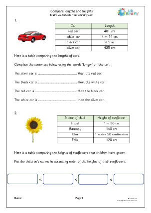 Preview of worksheet Compare lengths and heights