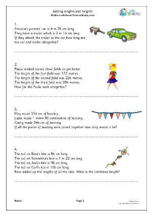 Preview of worksheet Adding lengths and heights