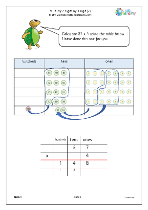 Preview of worksheet Multiply 2-digits by 1-digit using a place value table