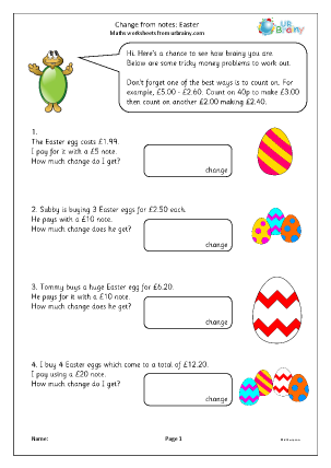 Preview of worksheet Change from notes Easter