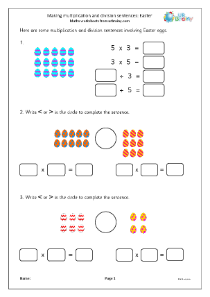 Preview of worksheet Making multiplication and division sentences: Easter
