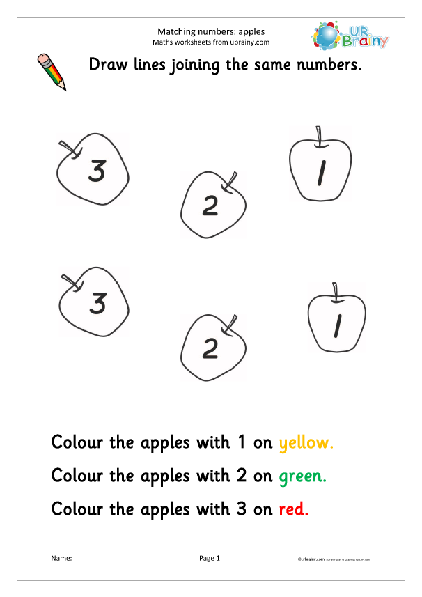 Preview of 'Recognising numbers: apples'