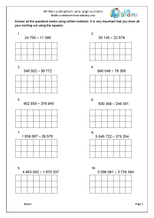 Preview of worksheet Written subtraction of very large numbers